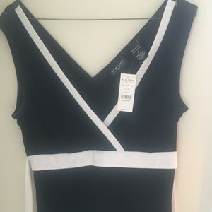 New York &Co black/ white dressy tie tank  Med NWT